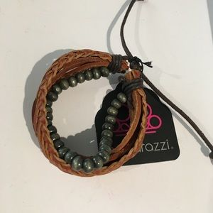 5/$25 Brown Leather Bracelet with Beads